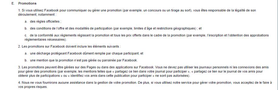 règles facebook concours